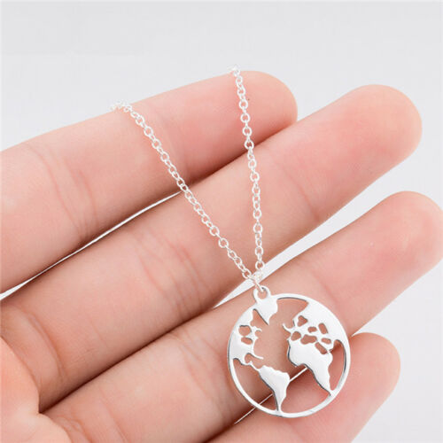 Women Romantic Necklace Geometric Round World Map Clavicle Chain for Ladies one