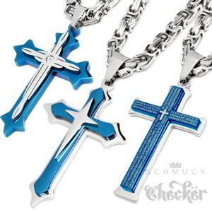 Blauer-Kreuz-Anhaenger-Edelstahl-Koenigskette-Herren-Halskette-Maenner-Kette-silber
