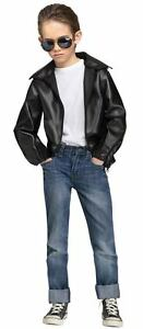 Boys Greaser Costume Black Leather Jacket Punk 50s Grease Danny ...
