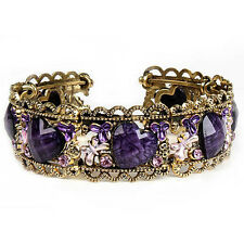 Womens Lady Fashion Beautify Rhinestone Gold-plated Purple Heart Retro Bracelet