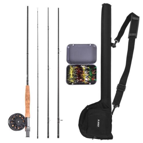 Fly Fishing Rod /& Reel Combo 20 Flies Starter Package Fish Pole Kit w//Carry Bag