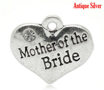 "1 OR 4 /""GOD MOTHER/"" TIBETAN SILVER RHINESTONE  HEART  WEDDING THEME CHARM"