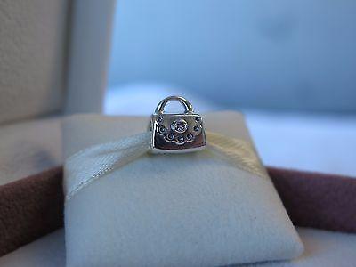 New w/BOX Pandora RETIRED Silver Scalloped Purse w/ Pink CZ Charm #790309PCZ