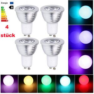 Fernbedienung 4x GU10 LED RGB Leuchtmittel Glühbirne Birne Strahler Glühlampe