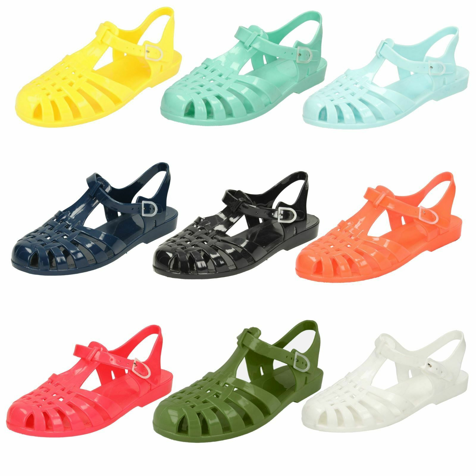 Spot On F0R711 Ladies White Jelly//PVC Sandals R27A