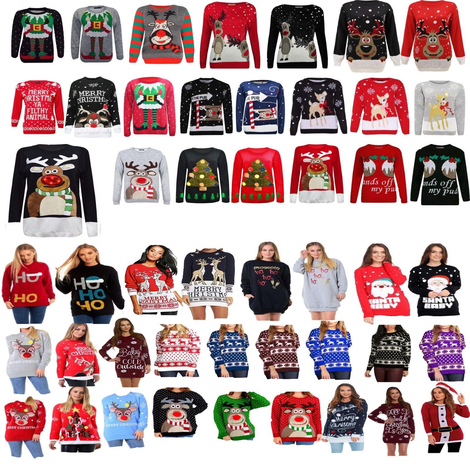 Femmes Femmes Hommes Femmes Femmes Noël Ugly Christmas Jumpers Rennes Rétro 3D Light Sweater Top 3e62e7