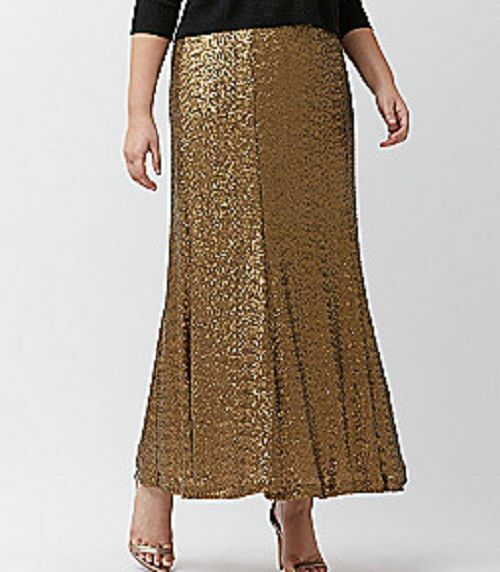 Lane Bryant beautiful pull on elastic waist lined gold Sequined Maxi skirt 16