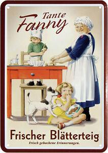 Metal-Postcard-10-cm-x-14-5-cm-Aunt-Fanny-Puff-Pastry-Kitchen-Erinnerung-Jaws