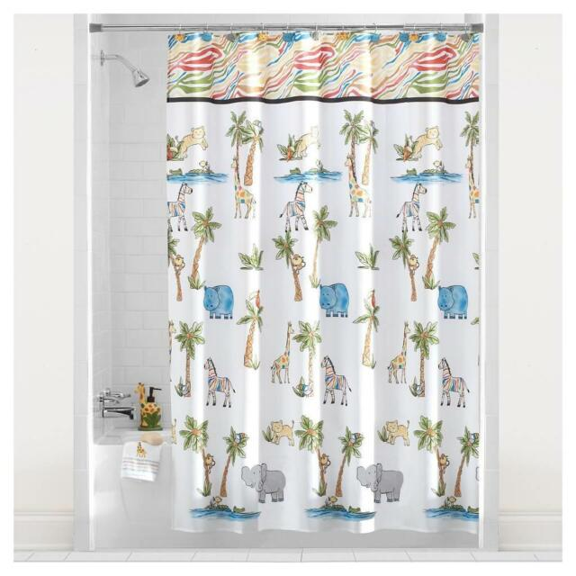 Mainstays Safari Fabric Bathroom Shower Curtain Palm Trees Lion Zebra  Elephant