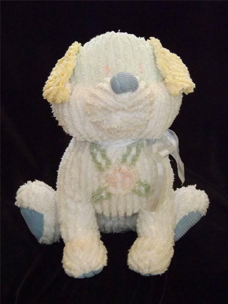 Superb White Chenille Sitting 16  Stuffed Dog Puppy w Pastel colors EXC