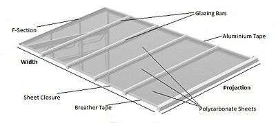 Lean To Conservatory Roof Kit DIY - 3m Projection, 10/16mm Polycarbonate