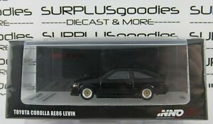 INNO64-1-64-Scale-Black-TOYOTA-COROLLA-AE86-Levin-w-Extra-Wheels-amp-Hood-Decal