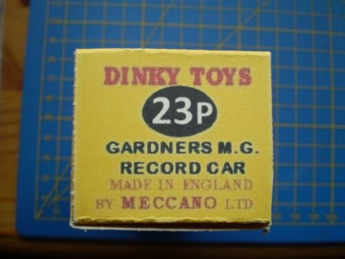 DINKY TOY REPRO BOX ONLY FOR NO 23P GARDNERS MG RECORD CAR
