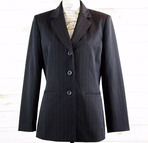 Collections-for-Le-Suit-Women-039-s-Pinstripe-Career-Blazer-Jacket-Black-Size-8