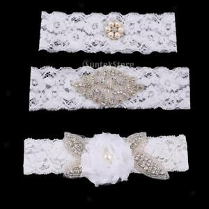 Wedding-Bridal-White-Crystal-Floral-Lace-Garter-Set-Keepsake-amp-Toss-Accessories