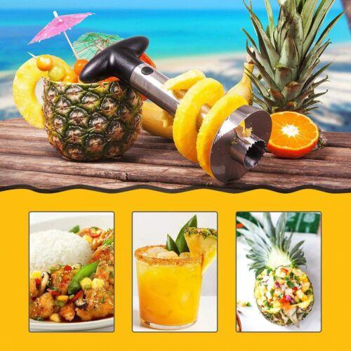 Edelstahl Ananasschneider Ananas Frucht Entkerner Ananasteiler Zerkleinerer Neu