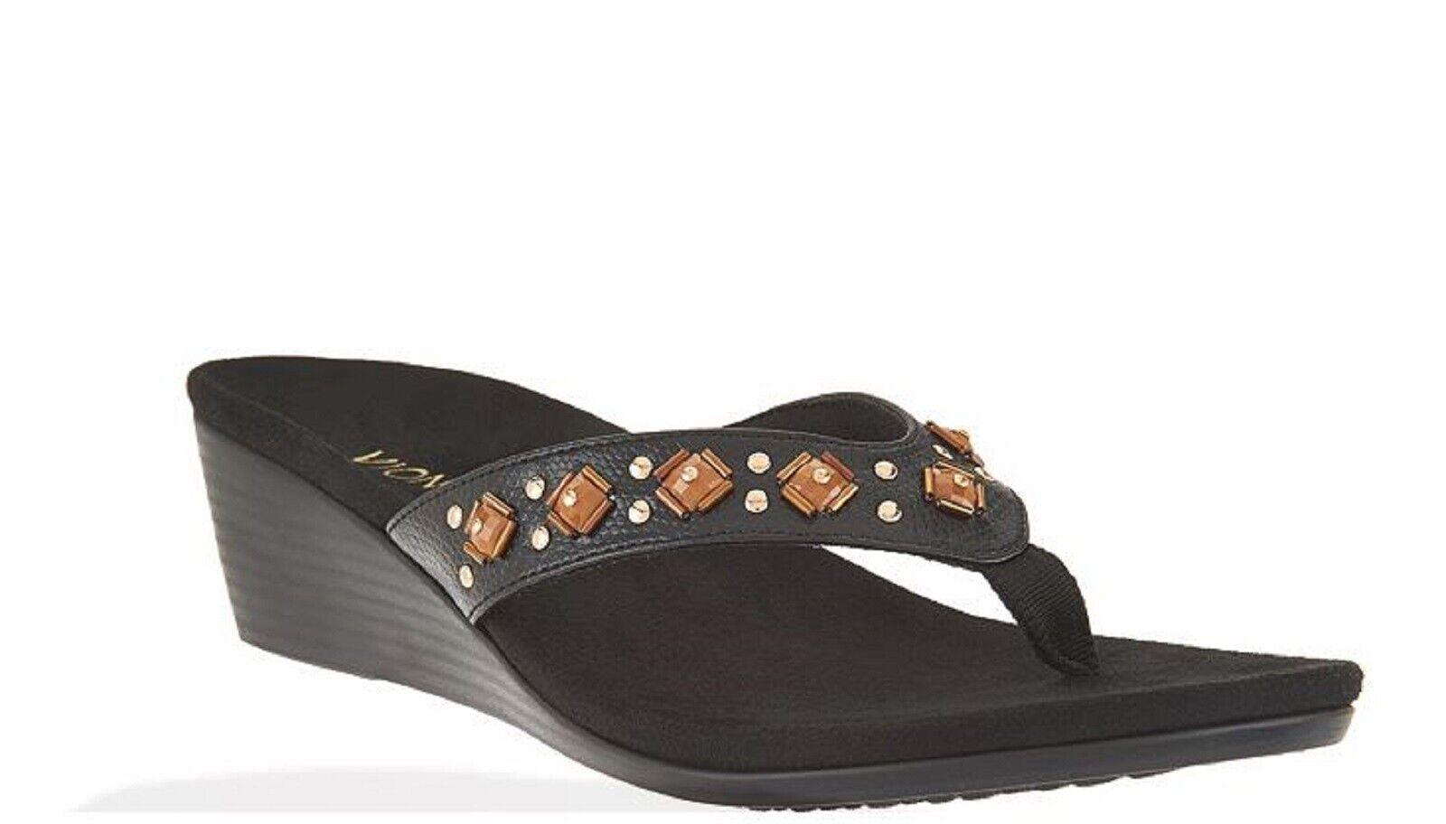 Vionic Orthaheel PARK MARCEAU Embellished Wedge Sandals BLACK Size 9.5 M NIB
