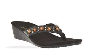 249ae4da25 Image is loading Vionic-Orthaheel-PARK-MARCEAU-Embellished-Wedge-Sandals- BLACK-