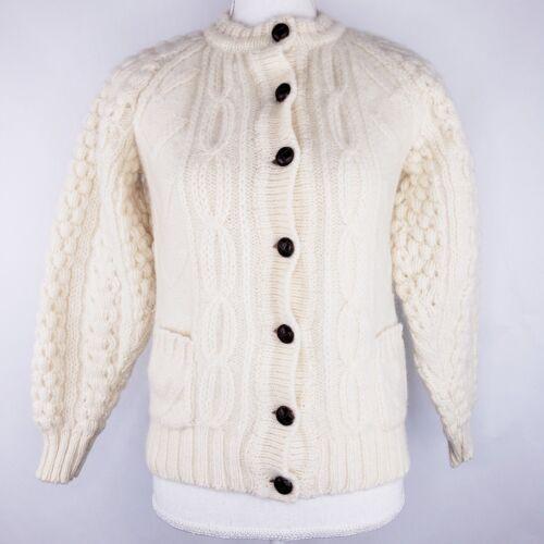Handloomed Cardigan Ireland Knit Ivory Sweater Small Bonner Cream Wool Pure z7WnPxH