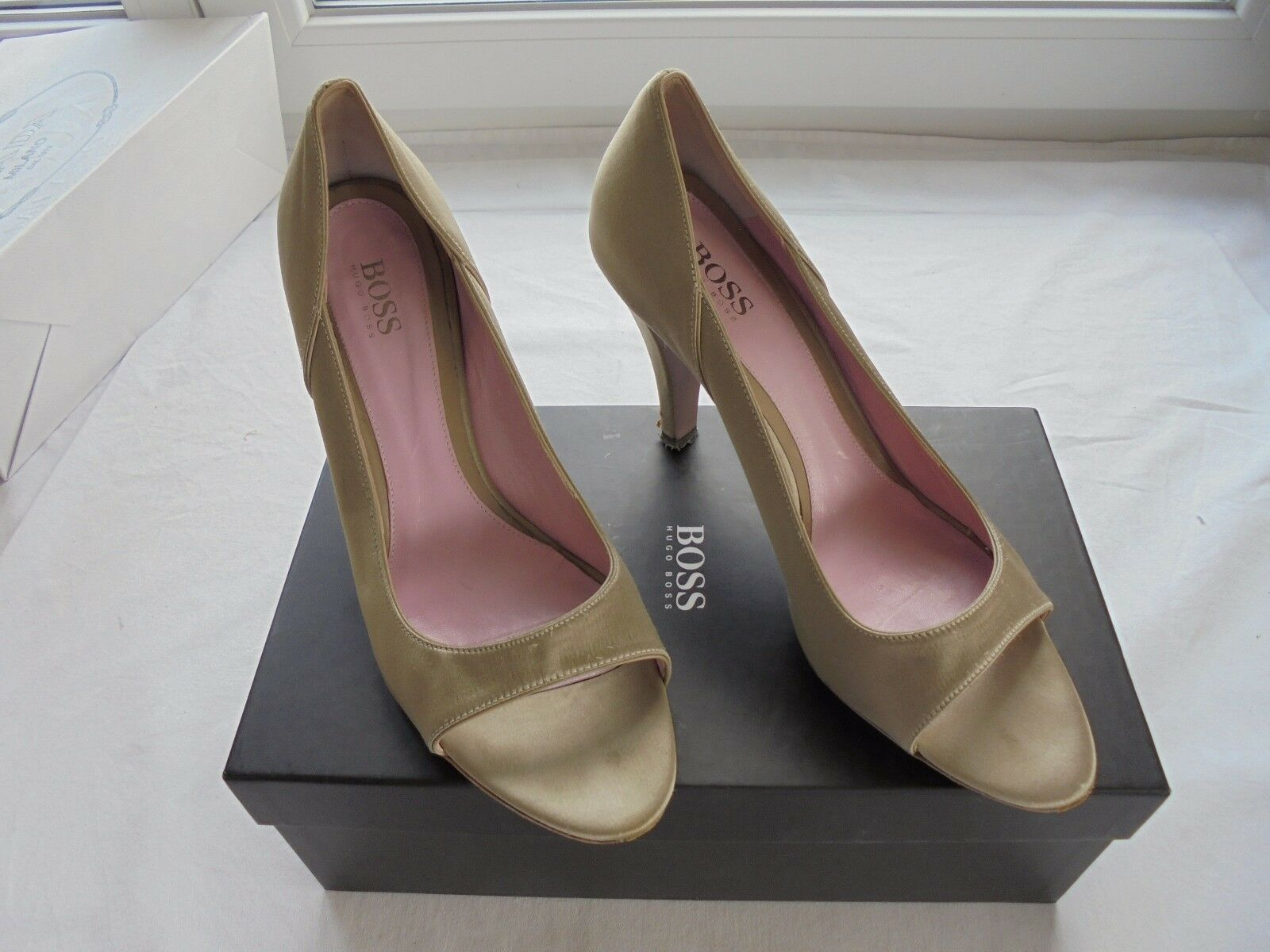 Hugo NP Boss Satin Leder Pumps NP Hugo  High Heel Peep Toes Schuhe 40 40,5 41 f60927