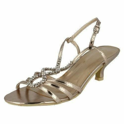 Spot On F1579 Ladies Champagne Slingback Evening Heeled Sandals