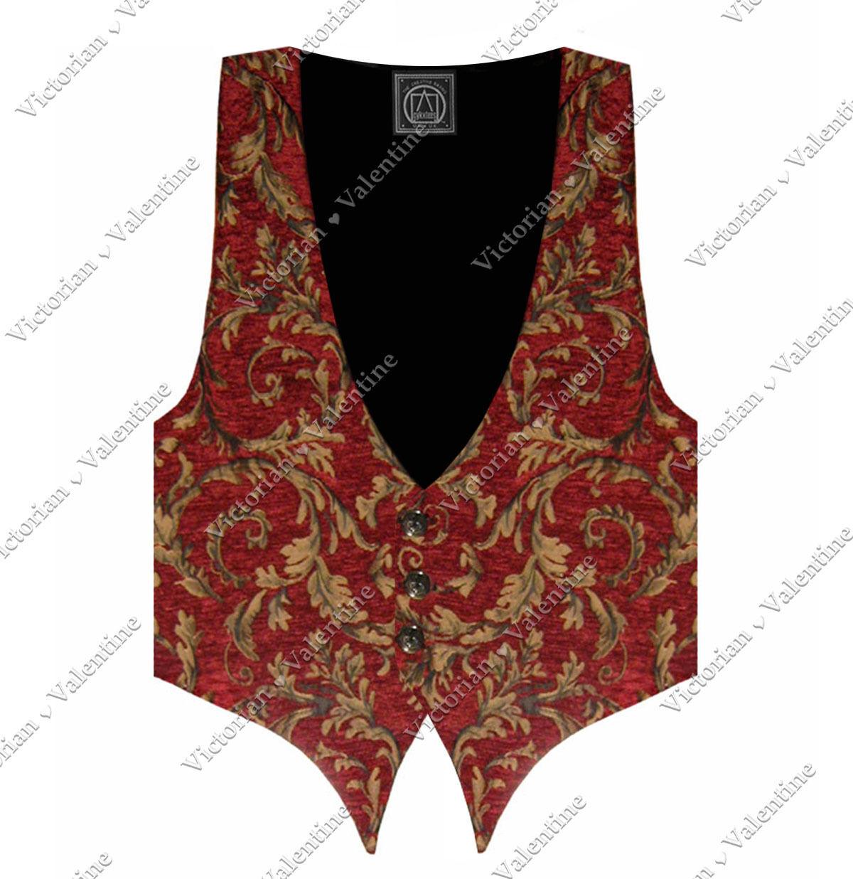 Victorian Vagabond Steampunk Gothic Western Red gold Brocade Men's Vest