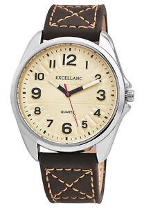 Elegante-Herren-Armbanduhr-Excellanc-Quarz-Herrenuhr-48-mm-Braun-Beige-Grosse-Uhr