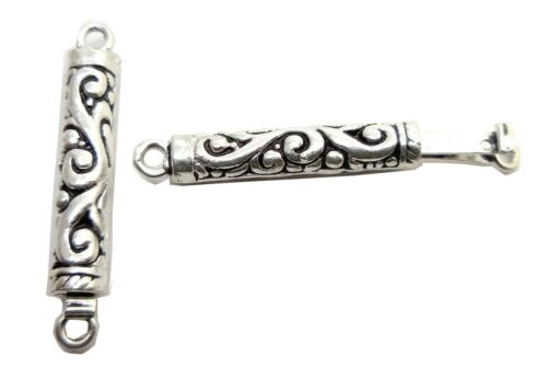2 PIECES 38X5MM 1 STRAND BALI BOX CLASP HANDMADE STERLING SILVER PLATED B 541