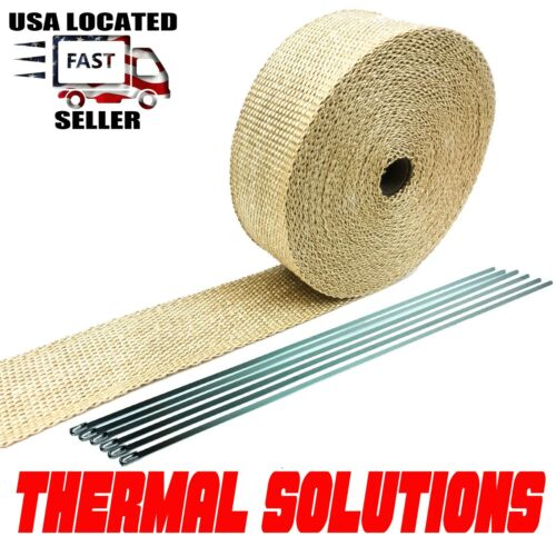 "Exhaust Heat Header Wrap with Stainless Ties 1//16/"" X 2/"" X 50 Tan High Temp pipe"