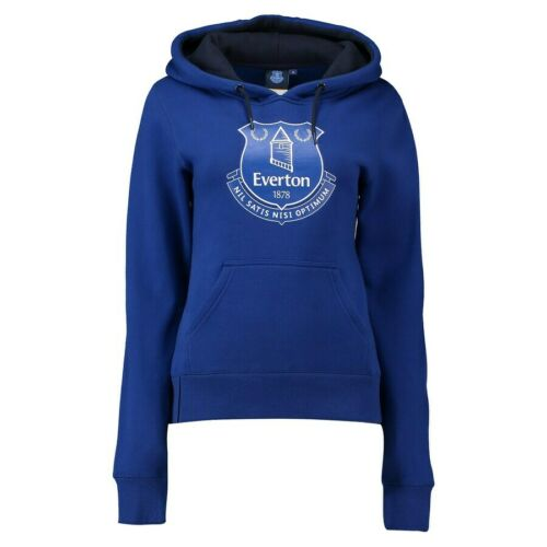 Everton Womens Hoodie Football Large Crest Pullover Hoodie Blue New