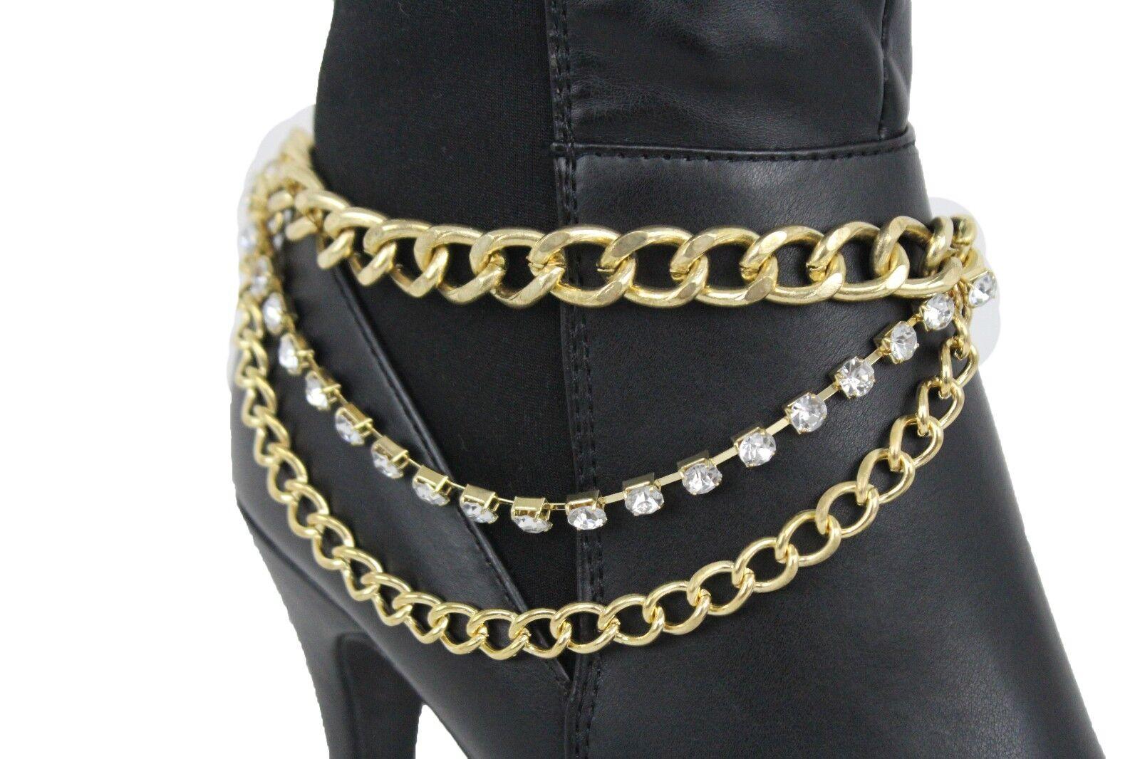 Women Gold Metal Chain Boot Bracelet Shiny Shoe 3 Strands Charm Bling Jewelry