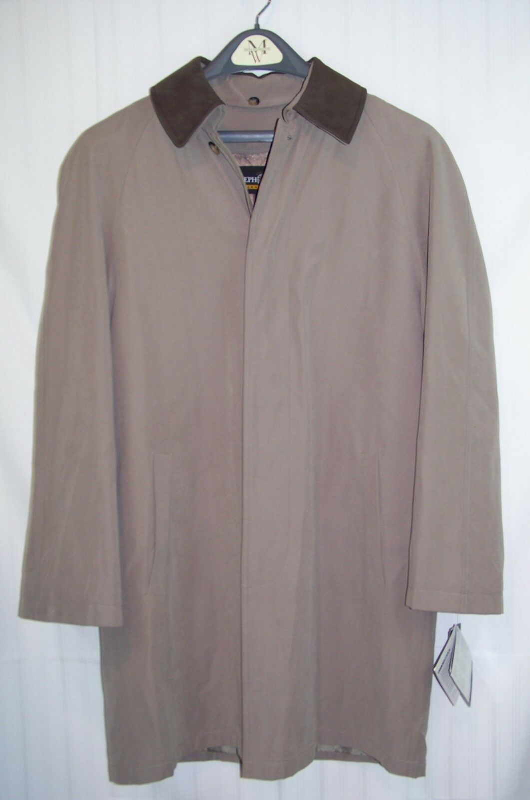 NWT men's Joseph Feiss Leather SuedeTrench Coat Microfibre Dual Lined SMALL