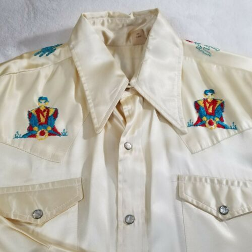VTG Handsewn Western Men's Gold Pearl Snap Button Shirt 60s 70s Japanese Detail