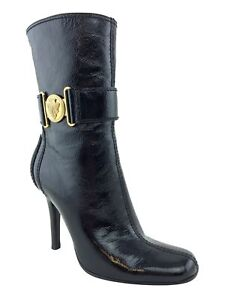 06adde3e2 Image is loading Gucci-Patent-Leather-Shield-Ankle-Boots-Size-7