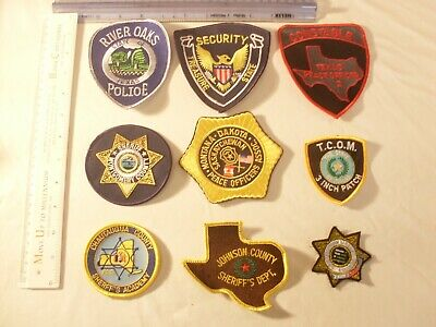 Police Sheriff Security 9 collectors Embroidered Patches for display only
