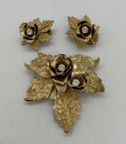 Coro Demi Brooch and Clipback Earrings Brushed Gold with Faux Pearls
