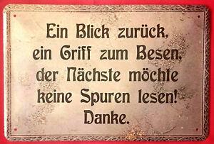 Details About Blechschild 20x30 Sauberhalten Blick Zurück Griff Zum Besen Fun Spruch Wc