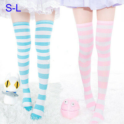 Cute Lolita Over-knee Stripe Cotton Long Thigh High Stocking Dance Socks Cosplay