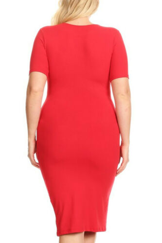 Womens Plus Size Simple Casual Short sleeve Stretchy Silhouette Body-Con Dress