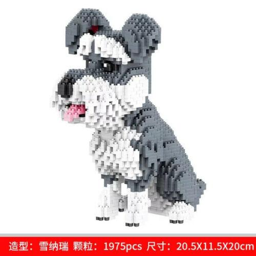 Bausteine Blocksteine Haustierhund Schnauzer Hund Spielzeug Modell DIY Geschenk