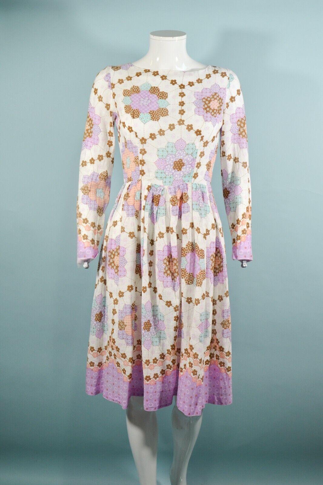 Vintage 60s/70s Faux Patchwork Hippie Dress, Cott… - image 9