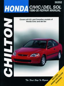 HONDA Civic 1996-2000 Chilton MANUALE OFFICINA HONDA DEL SOL servizio e riparazione