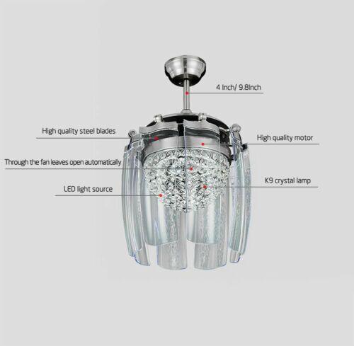 Modern Crystal Ceiling Fan Light LED Chandelier Remote Control Ceiling Light