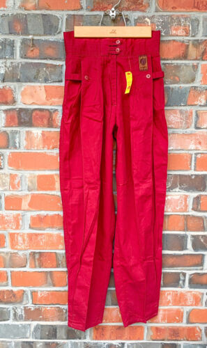 VTG Deadstock Bugle Boy Maroon Red High Waist Plea