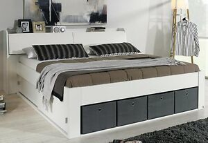bettanlage bett 140x200 cm stauraumbett funktionsbett schlafzimmer weiss neu ebay. Black Bedroom Furniture Sets. Home Design Ideas