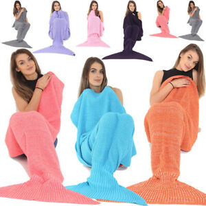 Home & Garden Honesty Fashion Uk Womens Ladies Knitted Mermaid Fishtail Lapghan Cocoon Warm Cozy Blank Sophisticated Technologies Blankets & Throws