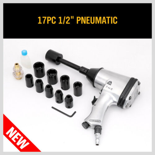 """Air Impact Wrench Set with Sockets Inline filter Extension Bar 17PC 1//2/"""" Dr"""