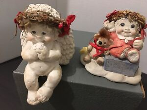 Dreamsicles-1994-Cherub-Angels-X2-Poinsettia-Figurines-Shelf-Sitter-amp-Christmas