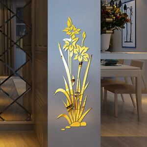 3D-Mirror-Flower-Art-Removable-Wall-Stickers-Acrylic-Mural-Decal-Home-Decor-BB