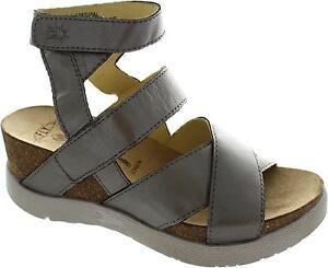 Fly-London-Wege-Women-039-s-Metallic-Open-Toe-Platform-Heel-Ankle-Strap-Sandals-New